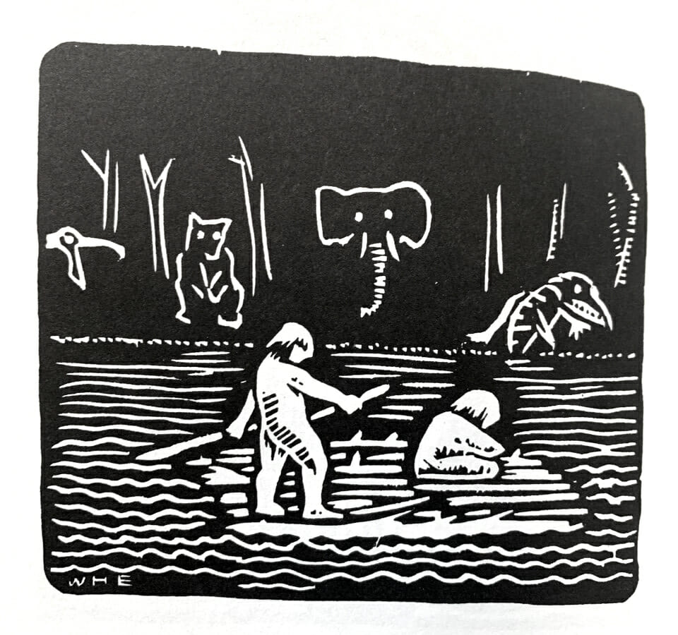 black and white woodcut print shows two people on a raft with the outline of different animals on the shore