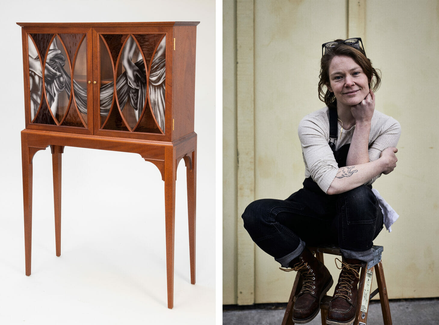 photo on left of a cabinet on legs with glass front doors. The doors have figures etched into them. On the right a woman in work clothes sits on a stool, smiling and leaning her chin on her hand.