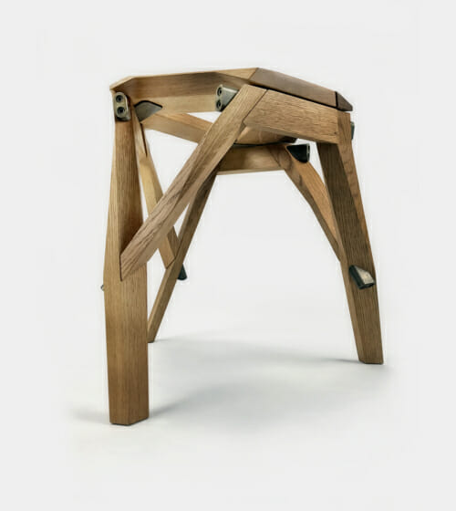 wood stool with metal hardward