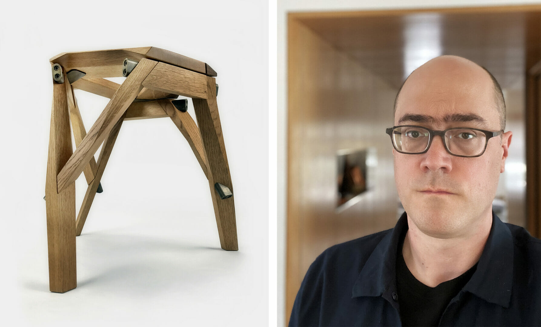 on left is a three-legged wood stool with metal hardware; on the right is a man in a black shirt with a shaved head and glasses