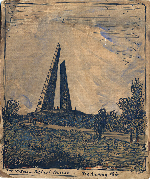 drawing of a landscape with two tilted ascending monuments rising up into the sky