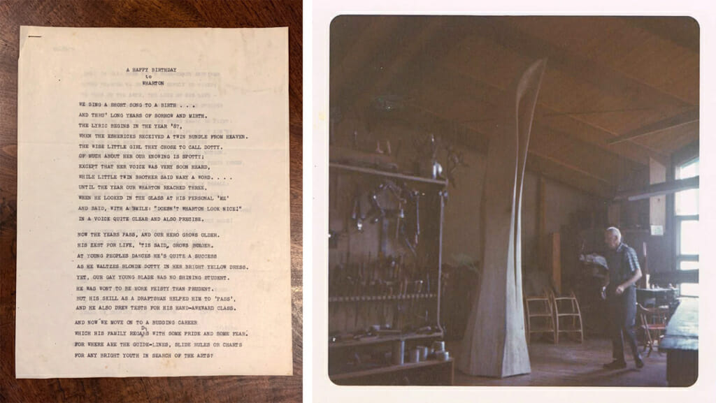 left is a typed letter; right image is Wharton in a faintly lit woodshop.
