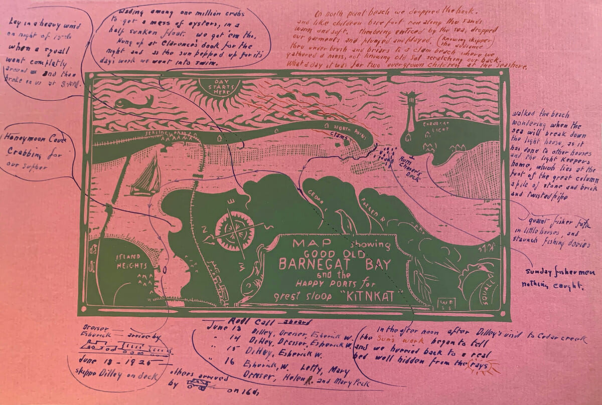 woodcut map of barnegat bay, green ink in red paper with notes, arrows and sketches drawn around the border