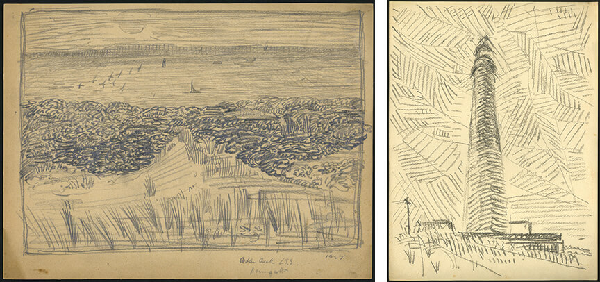 two drawings: one landscape sketch of a grassy beach dune looking out towards the water, the other of a lighthouse with hatching marks throughout the sky.